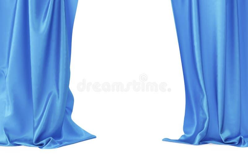 Голубые занавесы этапа бархата, drapery театра шарлаха Silk классические занавесы, голубой занавес театра перевод 3d иллюстрация штока