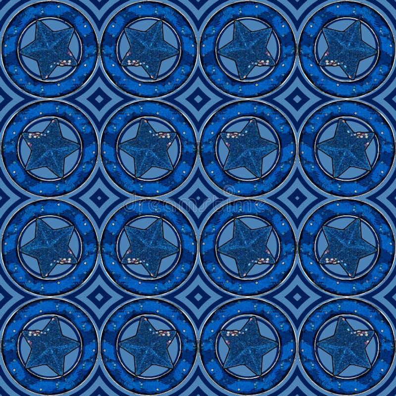 Голубые звезды в картине кругов стоковая фотография