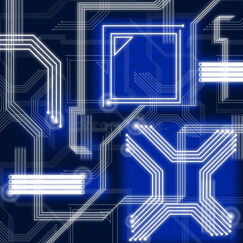 Голубые линии предпосылка показывают соединения и данные по сети иллюстрация штока