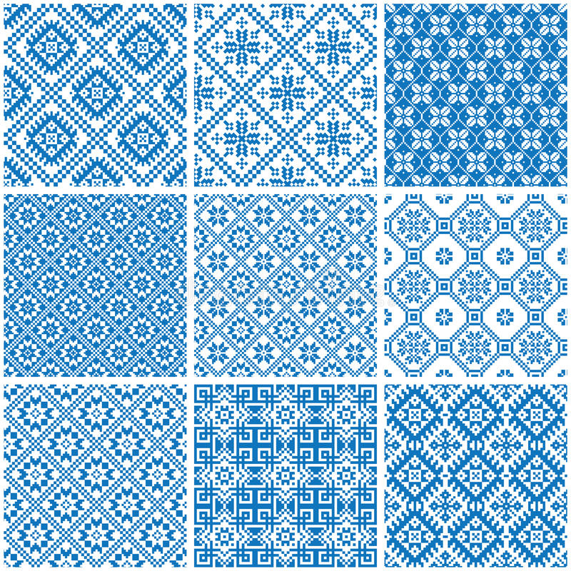 Голубые и белые орнаментальные этнические безшовные картины иллюстрация вектора