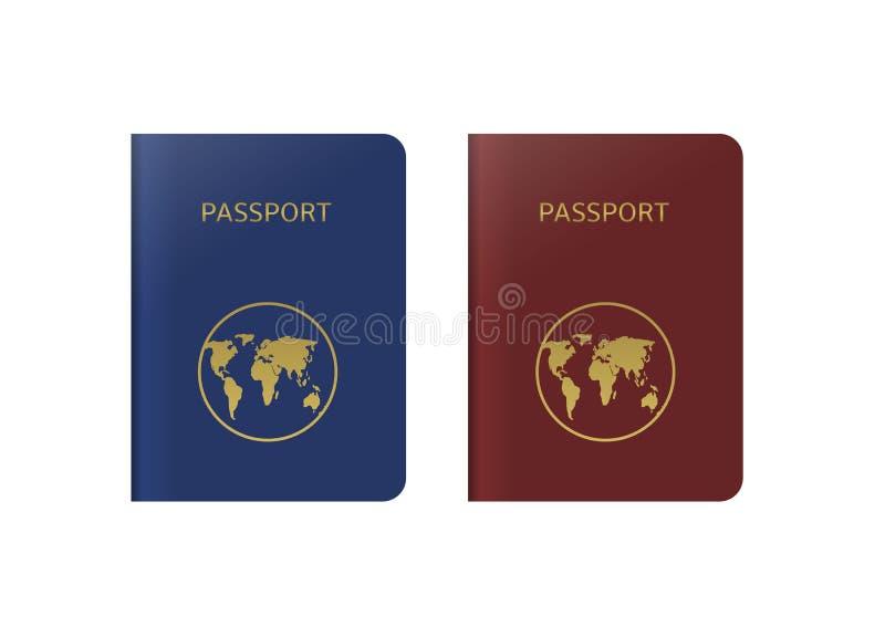 Голубые и красные пасспорты иллюстрация штока