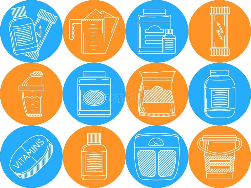 Голубые и оранжевые значки для питания спорт бесплатная иллюстрация