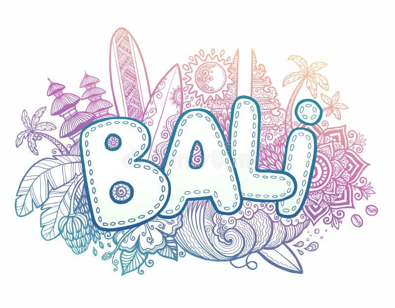 Голубые и розовые символы стиля doodle знака Бали вектора цветов в наличии нарисованные острова - виски, цветки, ладони, развеваю бесплатная иллюстрация