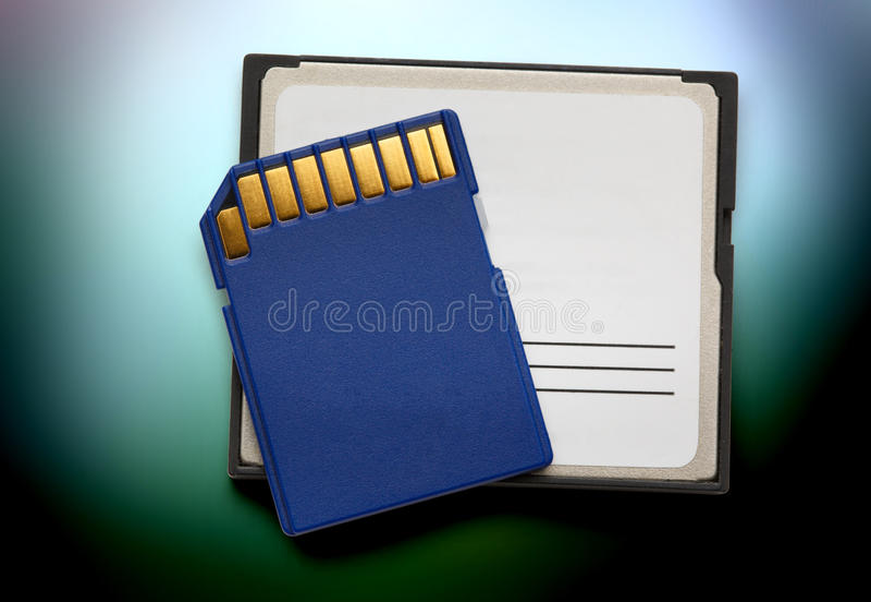 Голубые компактные карты памяти стоковая фотография rf