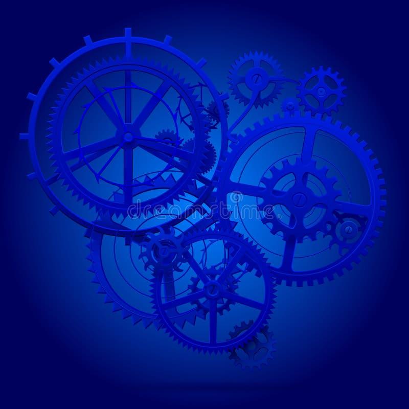 Голубые колеса шестерни clockwork в голубом свете иллюстрация вектора