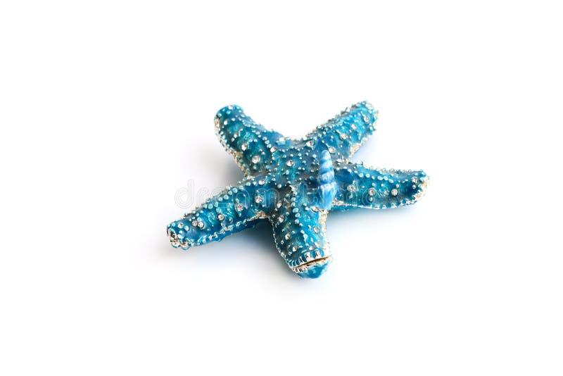 Голубые морские звёзды изолированные на белой предпосылке стоковые фотографии rf