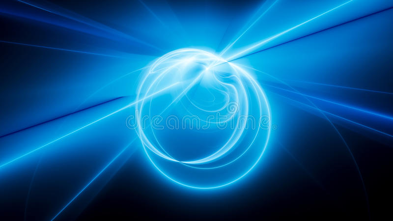 Голубые накаляя кривые и круги в космосе иллюстрация штока