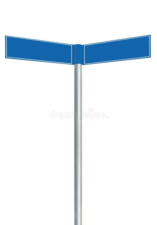Голубые дорожные знаки направления, 2 пустых пустых signages указателя, изолированный дирекционный космос экземпляра указателя gu стоковые изображения