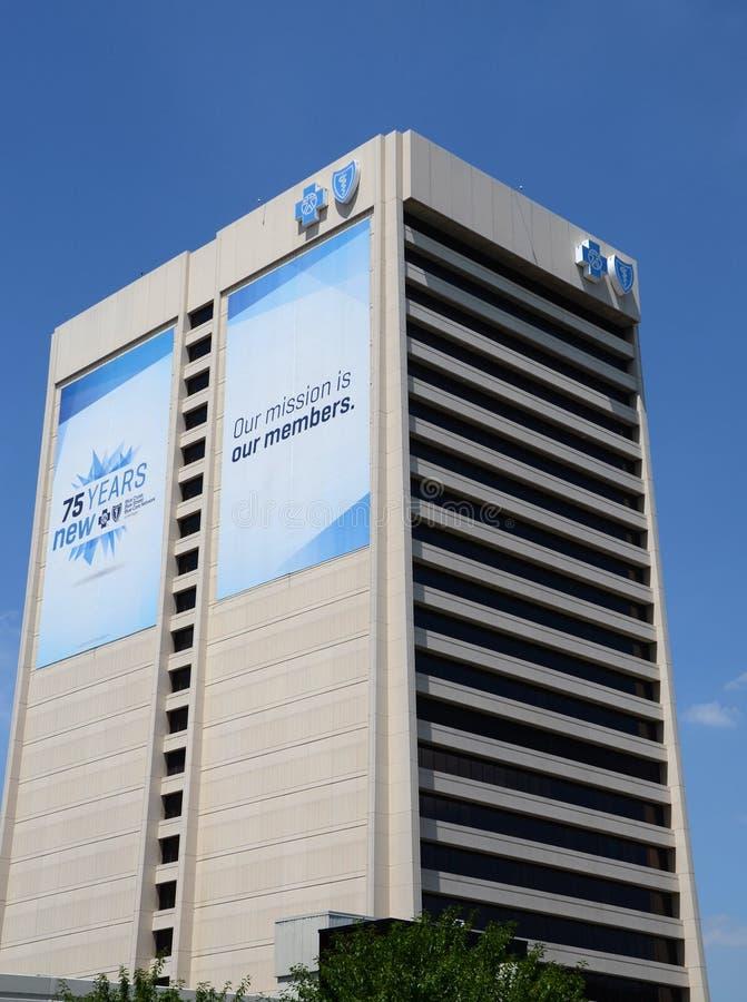 Голубые перекрестные голубые штабы экрана в Детройте стоковое фото rf