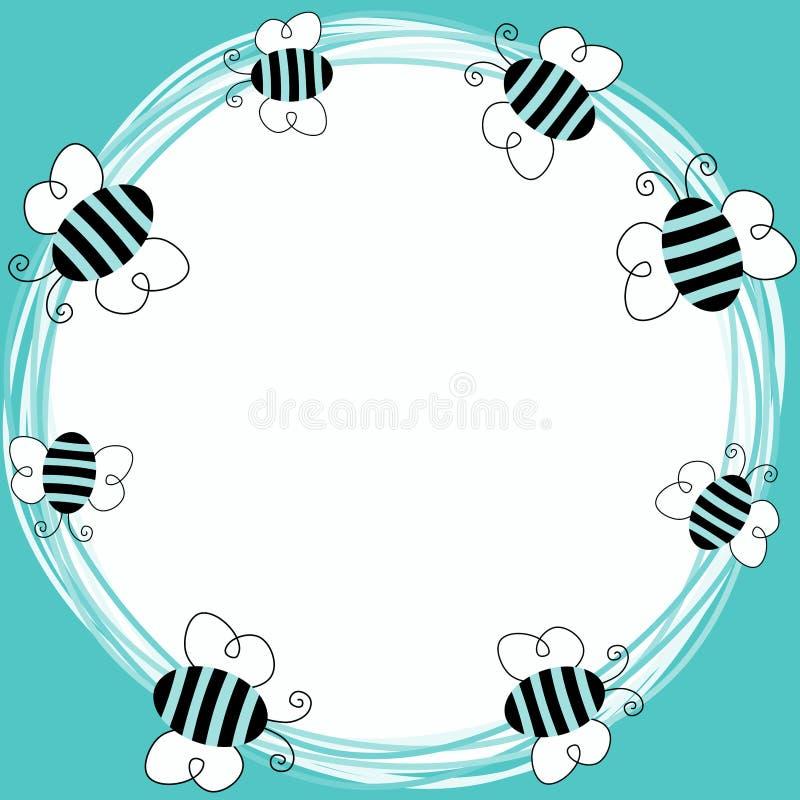 Голубые пчелы летая рамка бесплатная иллюстрация