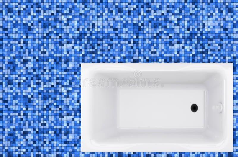 Голубые плитки и ванна мозаики в поле стоковая фотография