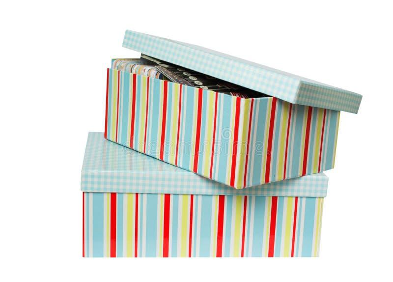 Голубые ретро подарочные коробки стиля изолированные с путем стоковые изображения rf