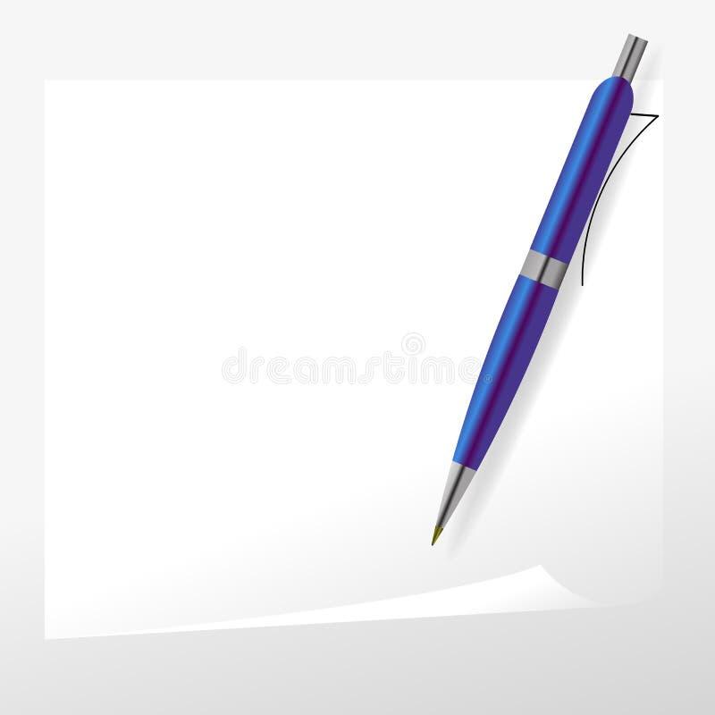 Голубые ручка и бумага иллюстрация штока