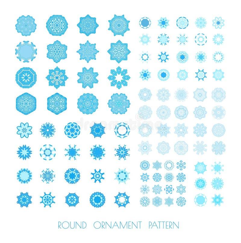 Голубые снежинки, фрактали или мандала иллюстрация вектора