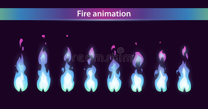 Голубые спрайты анимации огня иллюстрация штока