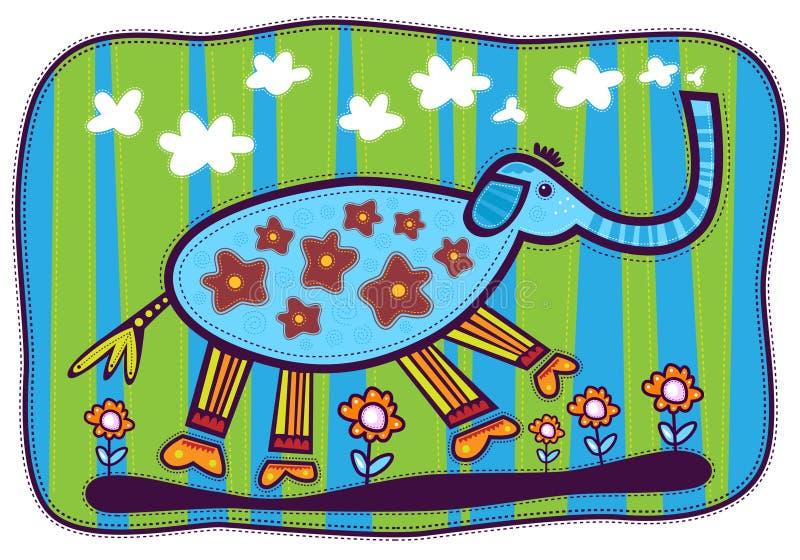 Голубые слон и цветки иллюстрация штока