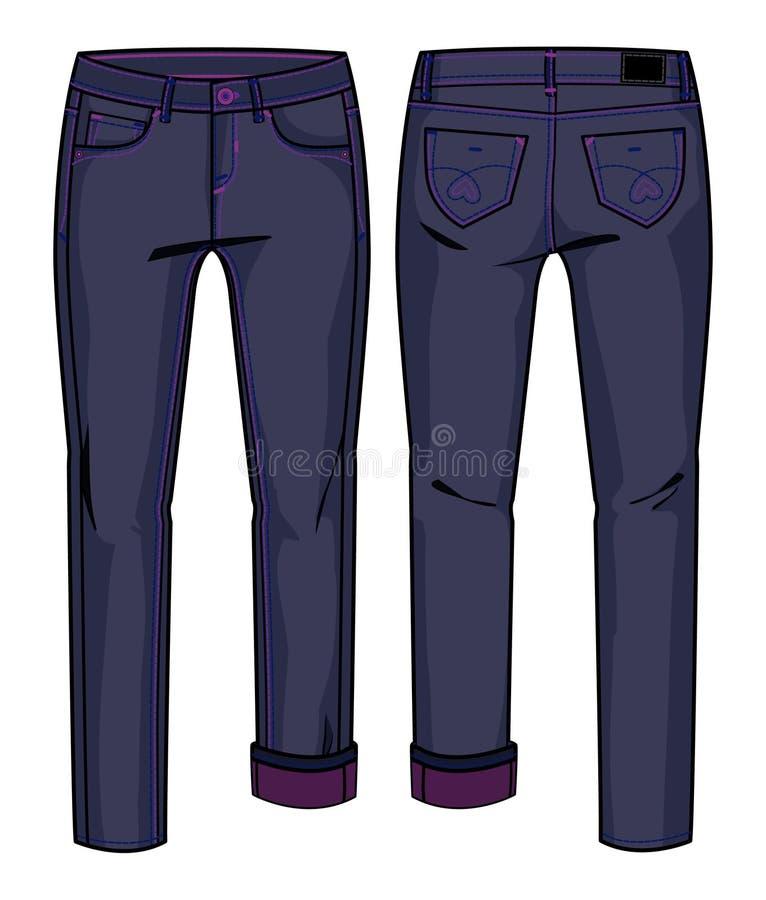 голубые темные джинсыы иллюстрация вектора