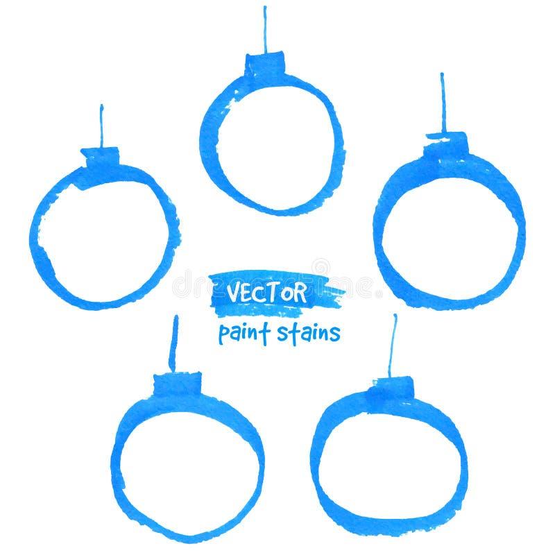 Голубые установленные шарики рождества ходов отметки иллюстрация вектора