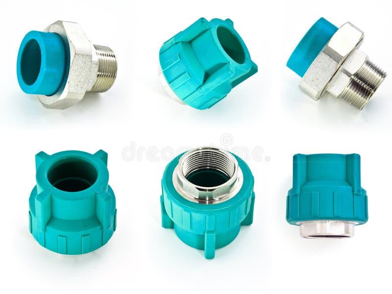 Голубые штуцеры трубы PVC стоковые изображения rf