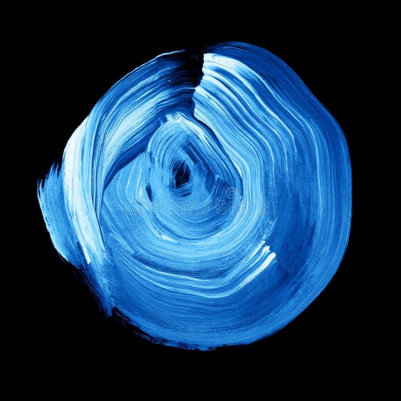 Голубые lapis текстурировали акриловый круг Пятно Watercolour на черной предпосылке иллюстрация вектора