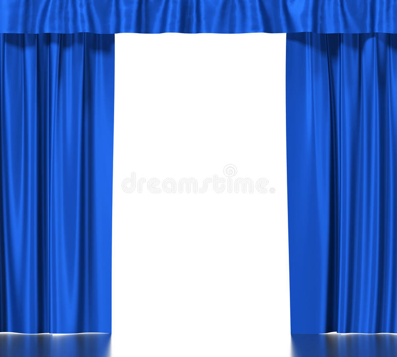 Голубые silk занавесы при подвязка изолированная на белизне иллюстрация вектора