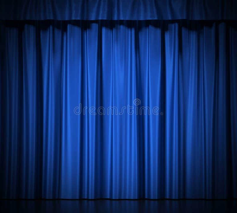 Голубые silk занавесы с подвязкой на белизне бесплатная иллюстрация