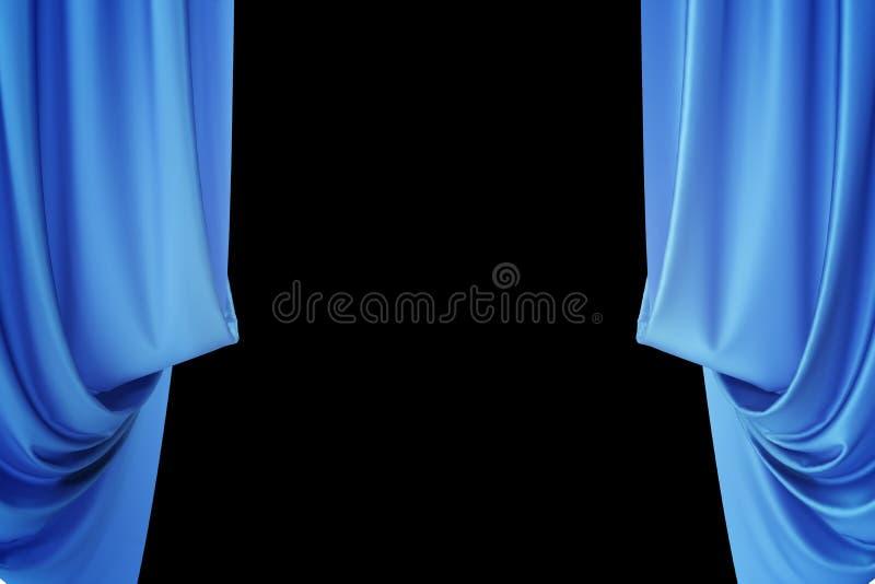 Голубые silk занавесы для spotlit театра и кино освещают в центре перевод 3d бесплатная иллюстрация
