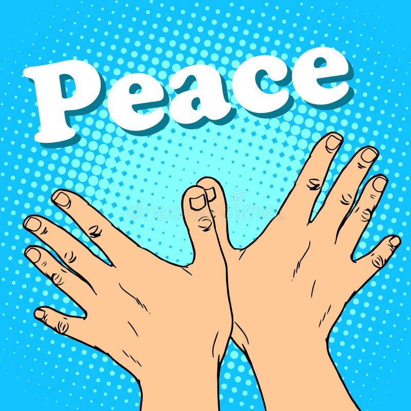 Голубь мира жеста рукой иллюстрация штока