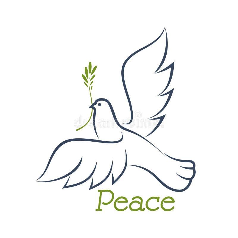 Голубь мира с зеленой оливкой бесплатная иллюстрация