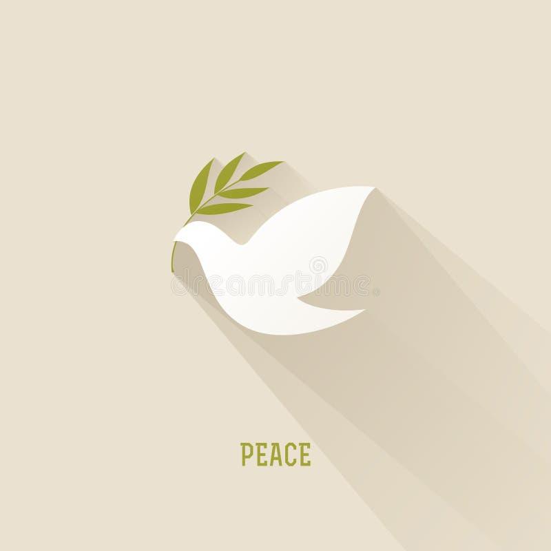 Голубь мира с оливковой веткой. Иллюстрация вектора