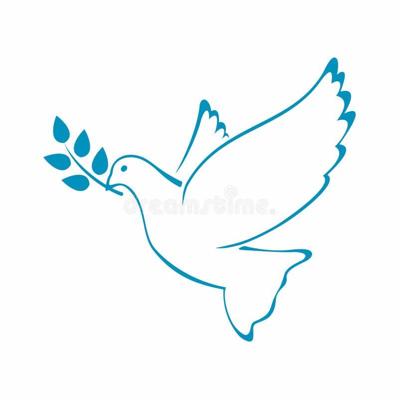 Голубь мира с оливковой веткой также вектор иллюстрации притяжки corel иллюстрация вектора