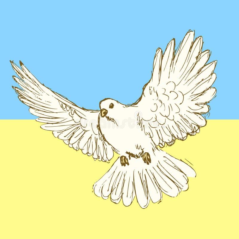 Голубь мира эскиза для украинской войны иллюстрация вектора