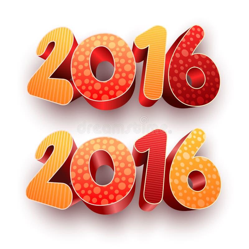 Год 2016 3d бесплатная иллюстрация