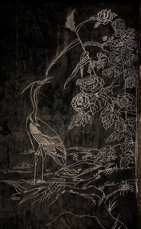 Гравировка аиста каменная стоковое изображение rf