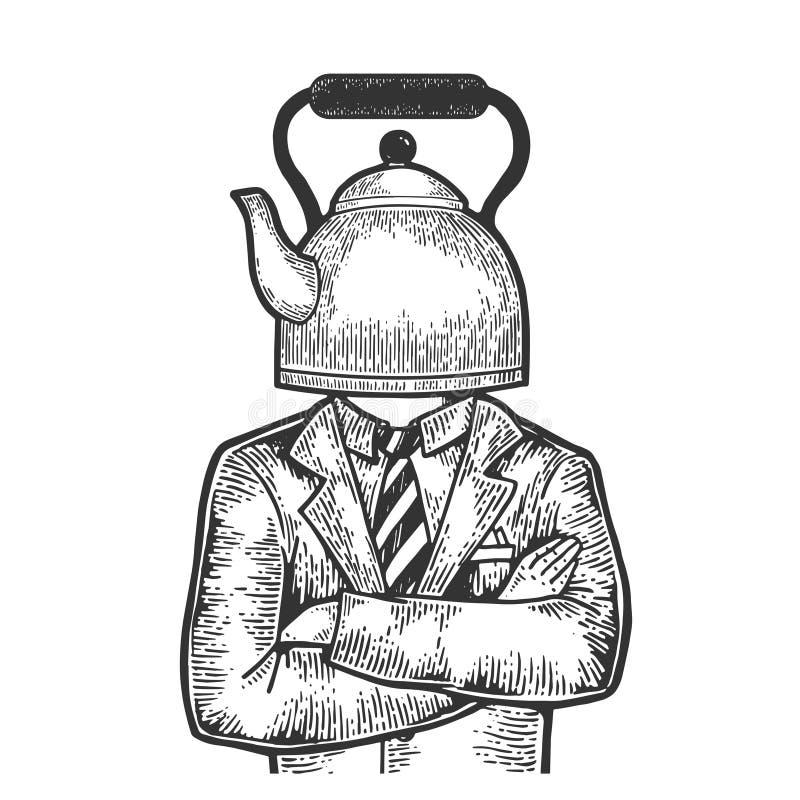 Гравировка эскиза бизнесмена бака чайника главная бесплатная иллюстрация