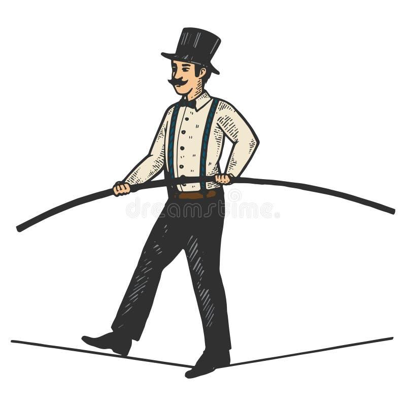 Гравировка эскиза цвета ropewalker цирка человека иллюстрация штока