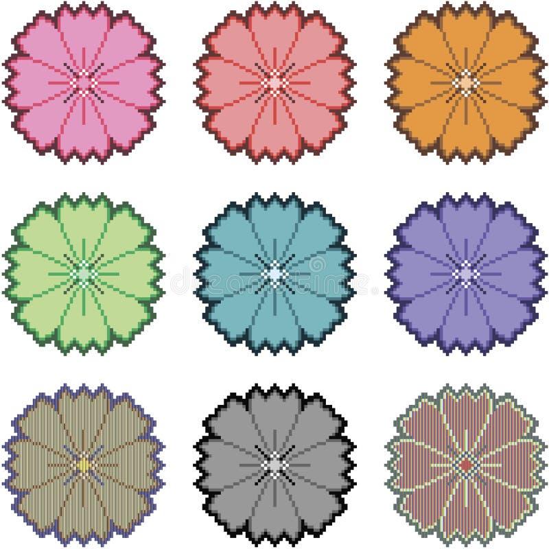 Градиентные пикселные цветы в различных цветовых вариантах стоковое фото