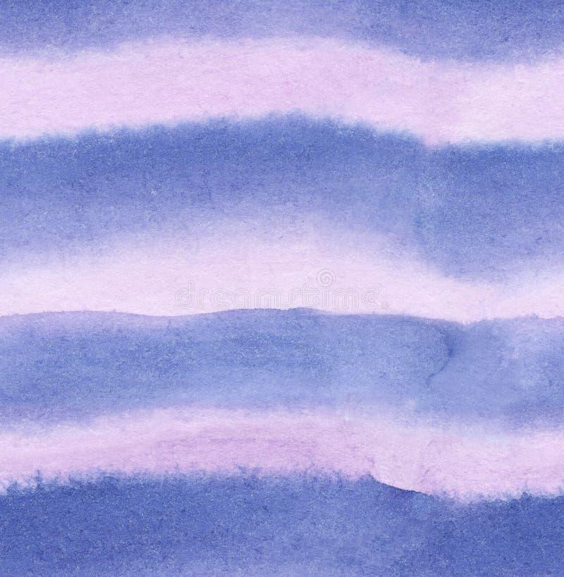 Градиент акварели развевал ровные нашивки цветов света - пурпурных и голубых с текстурой щетки, безшовной картиной иллюстрация штока