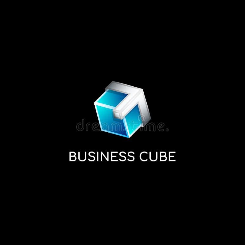 Градиент вектора красочный голубой и шаблон логотипа куба металла 3d стеклянный иллюстрация вектора