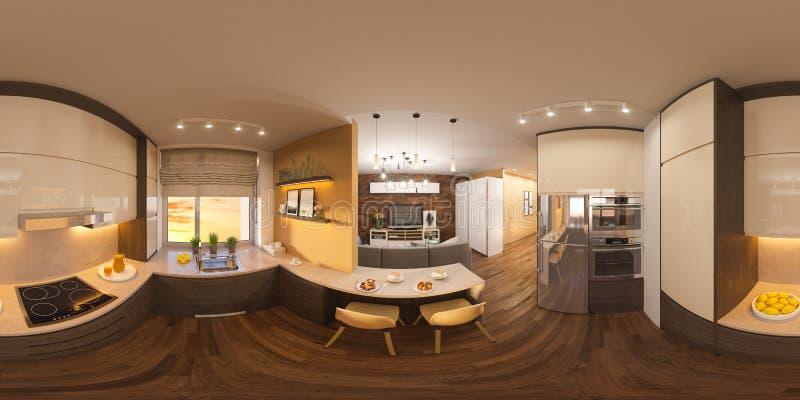 градусов иллюстрации 3d сферически 360, безшовной панорама живущей комнаты и дизайн интерьера кухни иллюстрация вектора