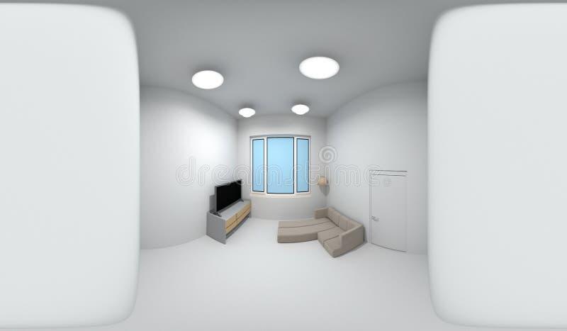 360 градусов сферически панорамы комнаты, перевода 3D иллюстрация вектора