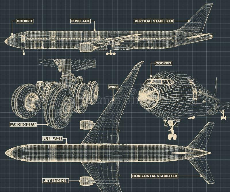 Гражданская часть чертежа авиалайнера иллюстрация штока