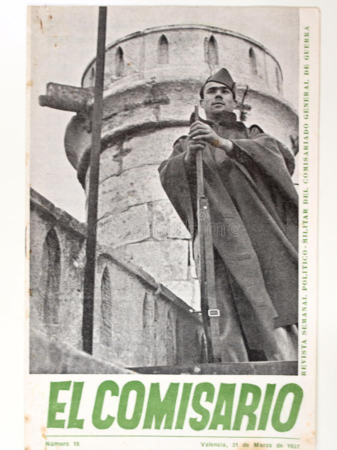 гражданское испанское война ` Comisario El ` кассеты 18 год 1937 стоковое изображение