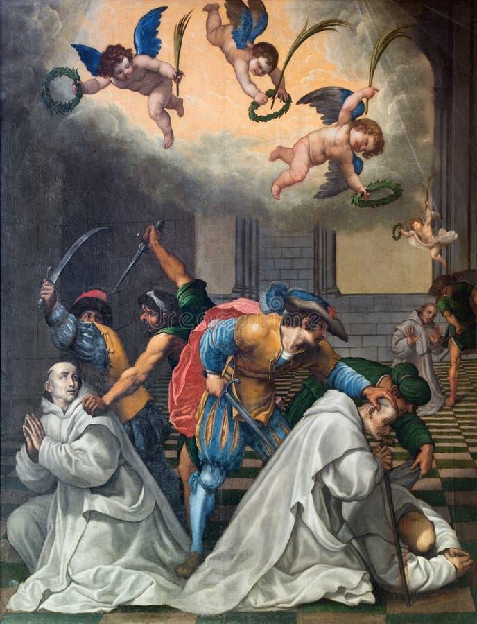 Гранада - картина убийства Carthusians в Monasterio de Ла Cartuja в Sala Capitular Vicente Carducho (1578 до 1638) стоковые изображения