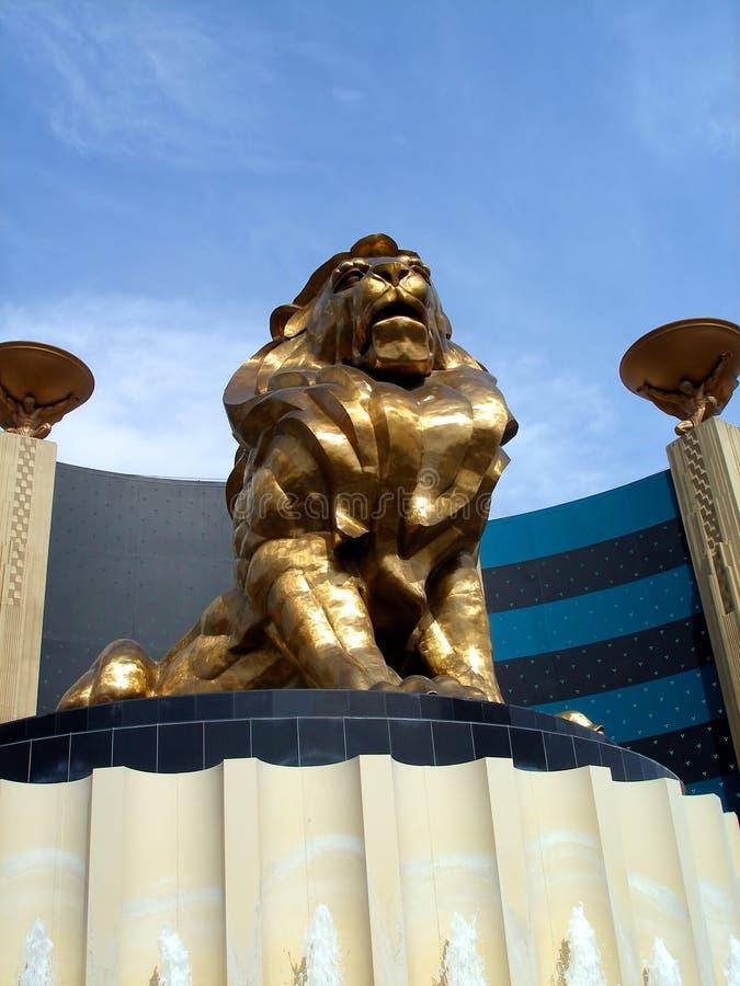 грандиозная статуя vegas mgm льва las стоковая фотография rf