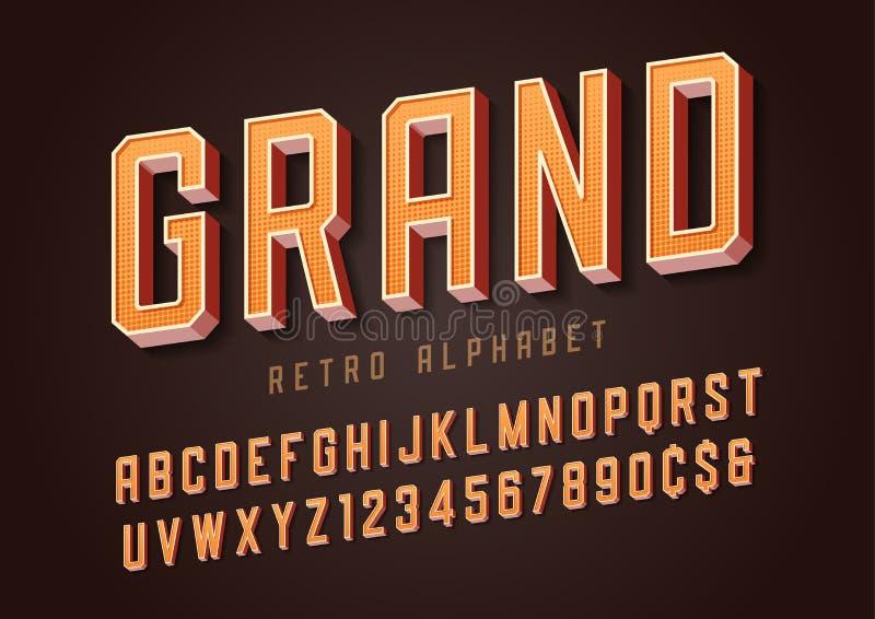 Грандиозный ультрамодный ретро дизайн плакатного шрифта, алфавит, пальмира, lett иллюстрация вектора