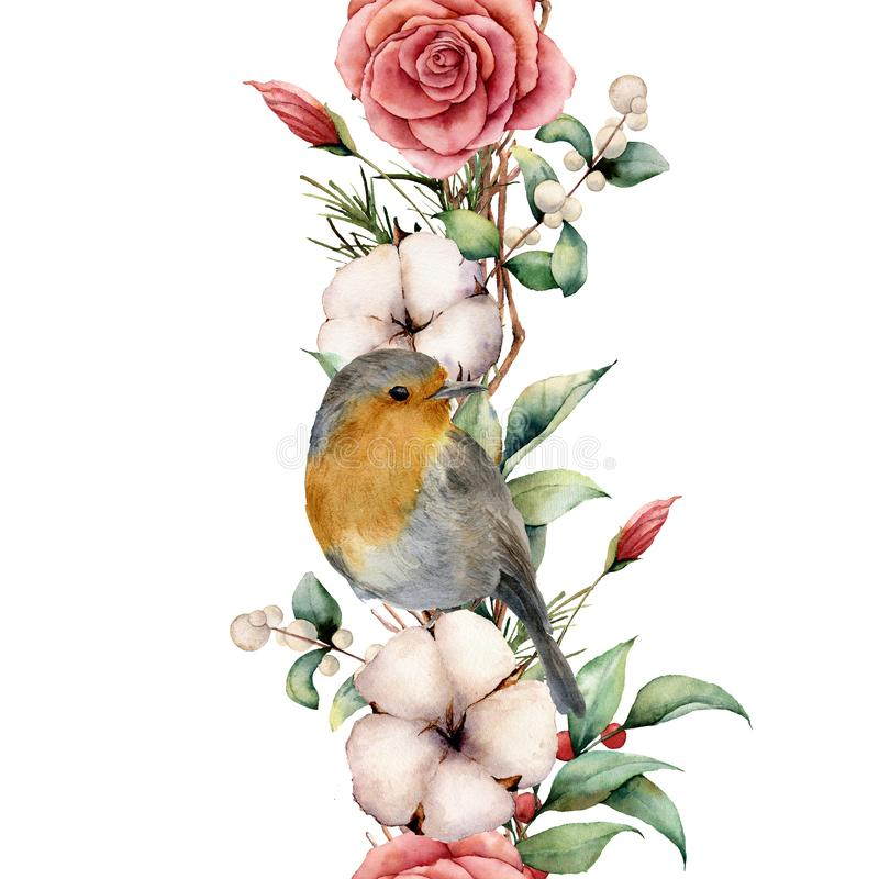 Граница акварели вертикальная с робином и цветками Вручите покрашенные границу, хлопок, ветвь, георгин, ягоды и листья дерева иллюстрация штока