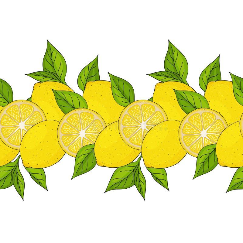 граница безшовная желтые лимоны и листья иллюстрация штока