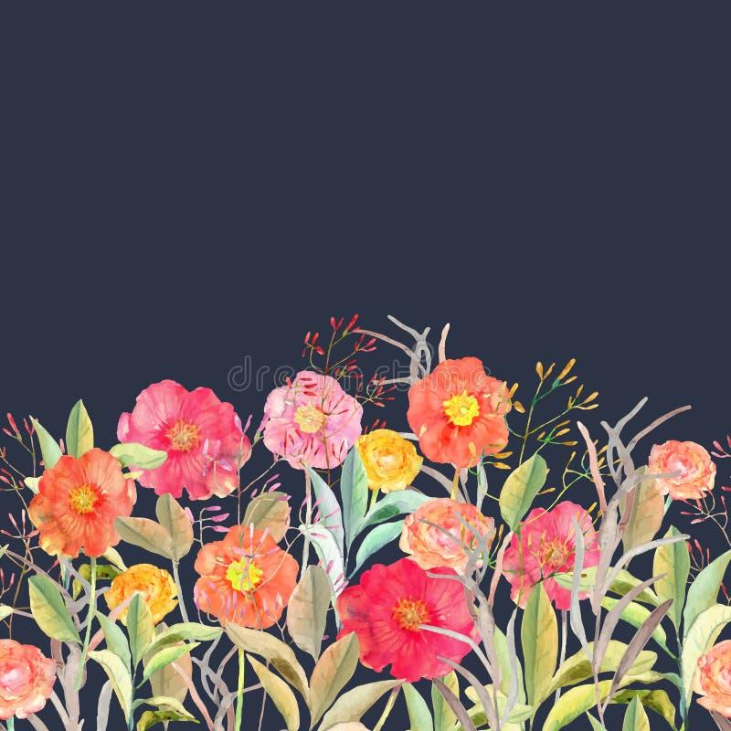 Граница вектора безшовная флористическая Изолированные розы и полевые цветки i иллюстрация вектора