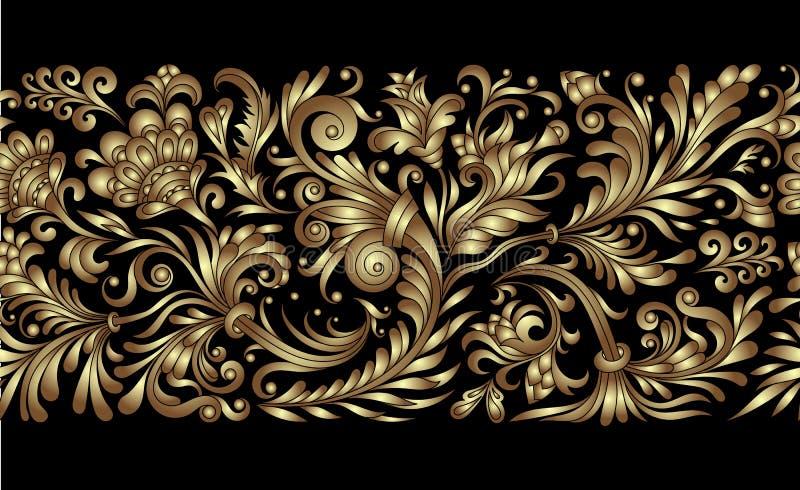 Граница вектора богато украшенная безшовная в восточном стиле Линия элемент искусства для дизайна, места для текста Орнаментальна иллюстрация вектора